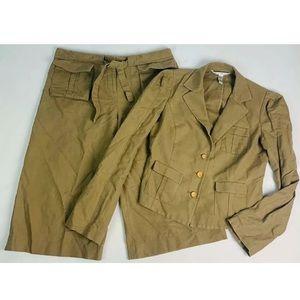 DVF Safari Pant Suit Set 2 Piece Outfit